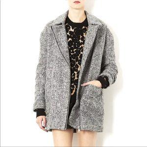 Topshop Tweed Coat Ovoid Zipper Oversized Grey